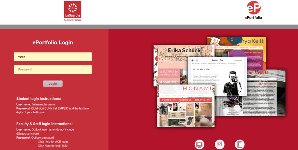 screenshot LAGCC ePortoflio login page