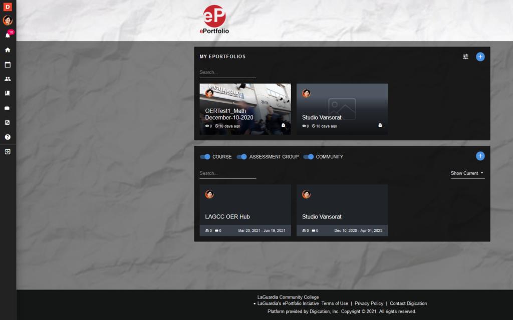 screenshot pf ePortfolio home page